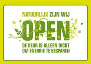 poster winkeldeur dicht om energie te besparen